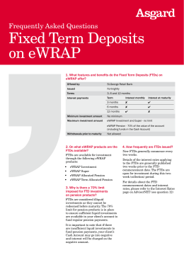 Fixed Term Deposits on eWRAP