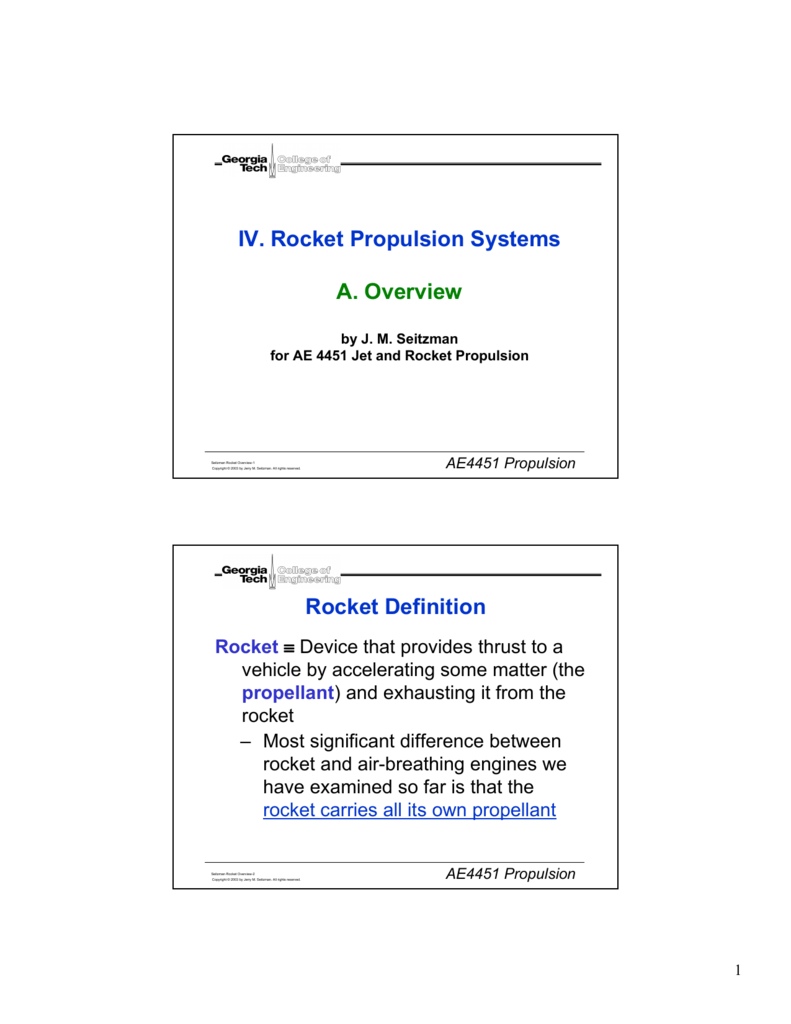 Iv Rocket Propulsion Systems A Overview Rocket Definition