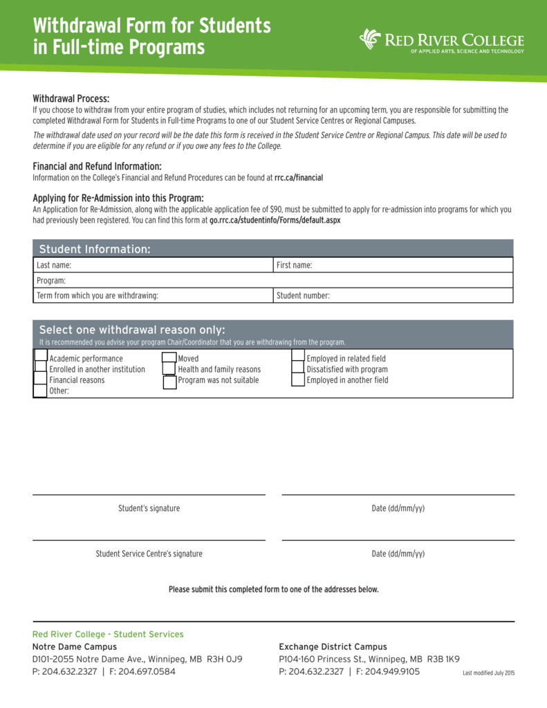 Withdrawal Form For Students In Full Time Programs