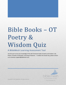 Bible Books – OT Poetry & Wisdom Quiz