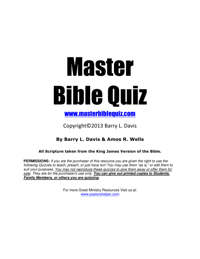 Master Bible Quiz PDF