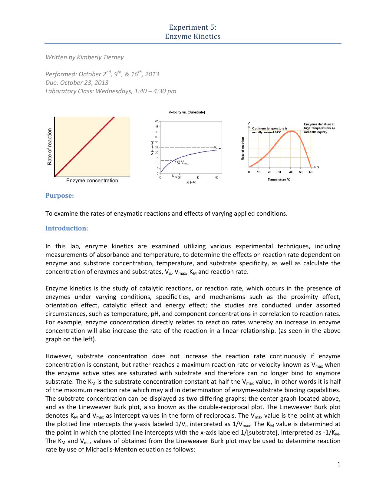 Experiment 5: Enzyme Kinetics