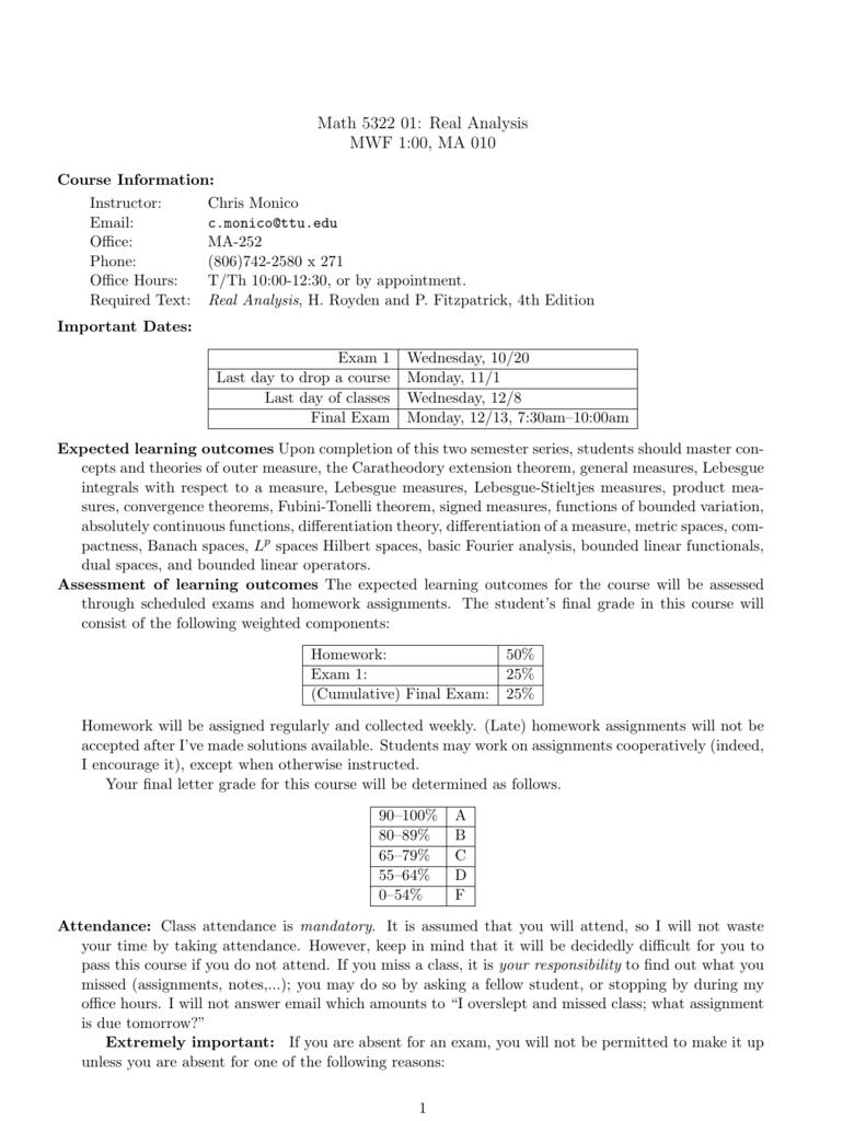 real analysis homework solutions chris monico