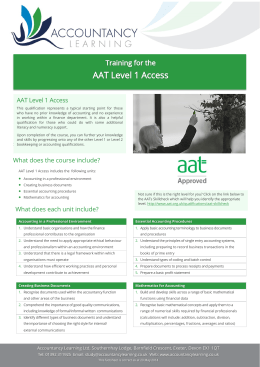 AAT Level 1 Access What does the course include? What does each