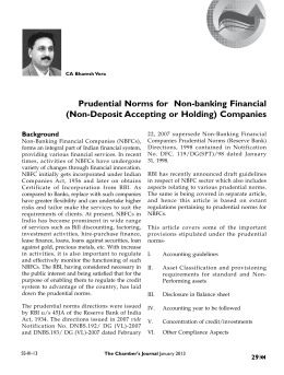 Prudential Norms for Non-banking Financial (Non