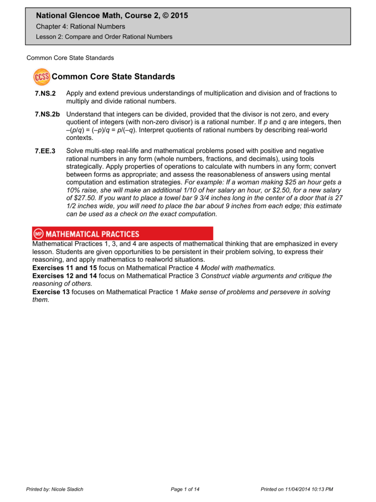 worksheet Comparing Rational Numbers Worksheet rational numbers southgate schools