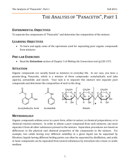 Separating The Components Of Panacetin Lab Report