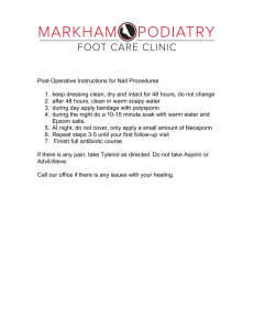 Instructions for Post Operative for Nail Procedures