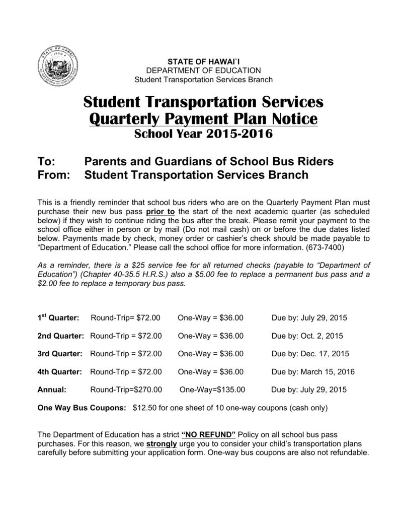 Student Transportation Services Quarterly Payment Plan Notice