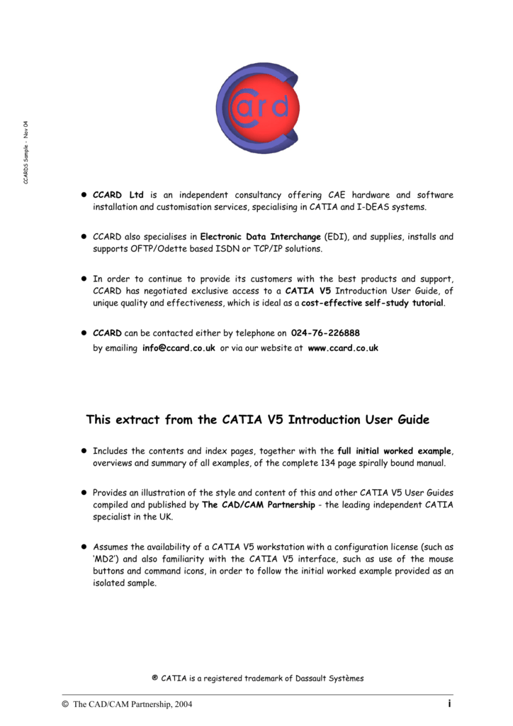 CATIA V5 Introduction User Guide