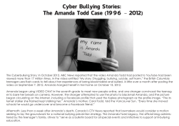 Cyber Bullying Stories: The Amanda Todd Case (1996