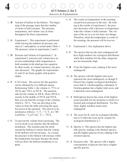 ACT Science 2, Set 2 Answers & Explanations