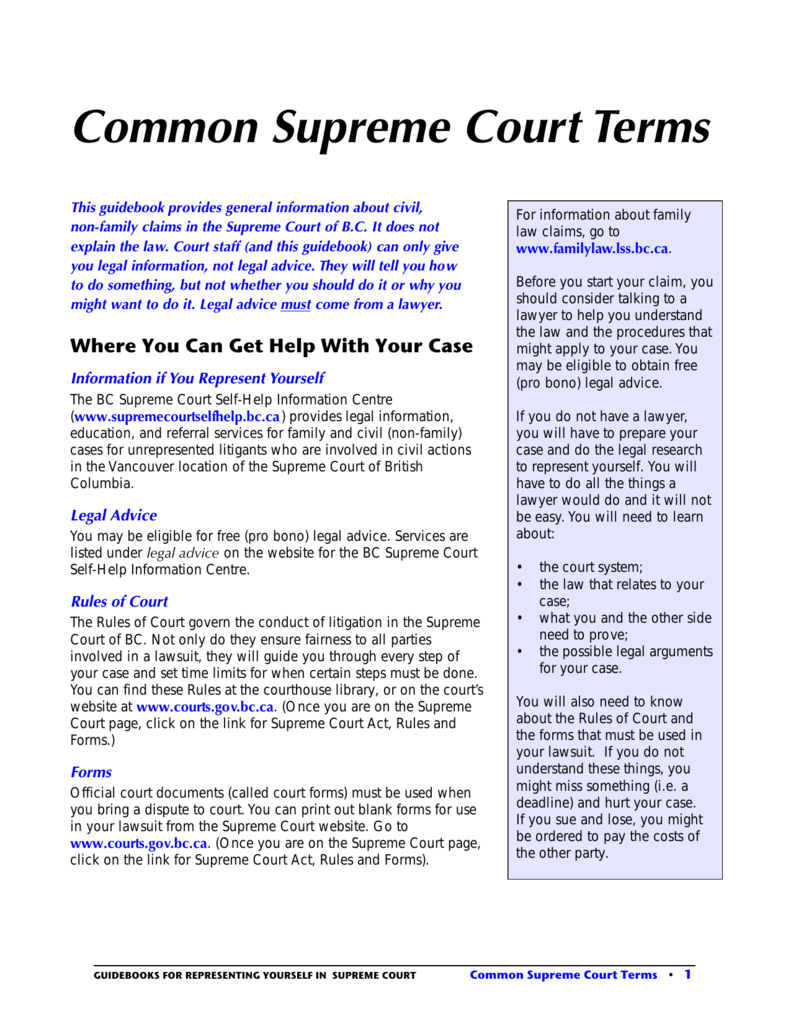 Common supreme court terms justice education society of bc solutioingenieria Gallery