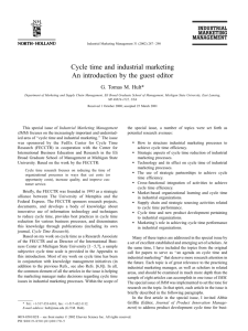 Cycle time and industrial marketing: An introduction by the guest editor