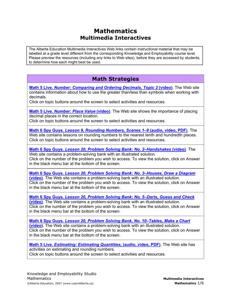 Mathematics Multimedia Interactives