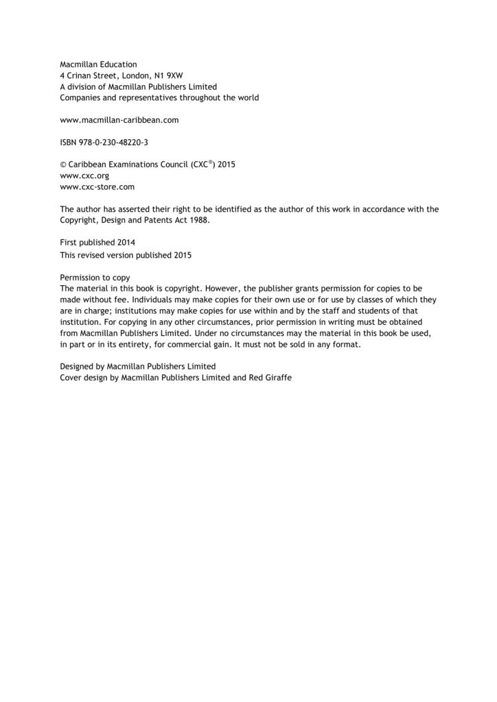 CAPE® Environmental Science Syllabus, Specimen Paper, Mark