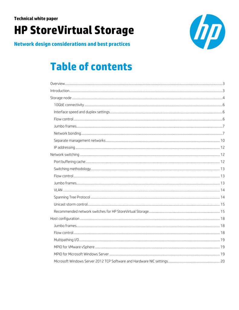 HP StoreVirtual Storage: Network design