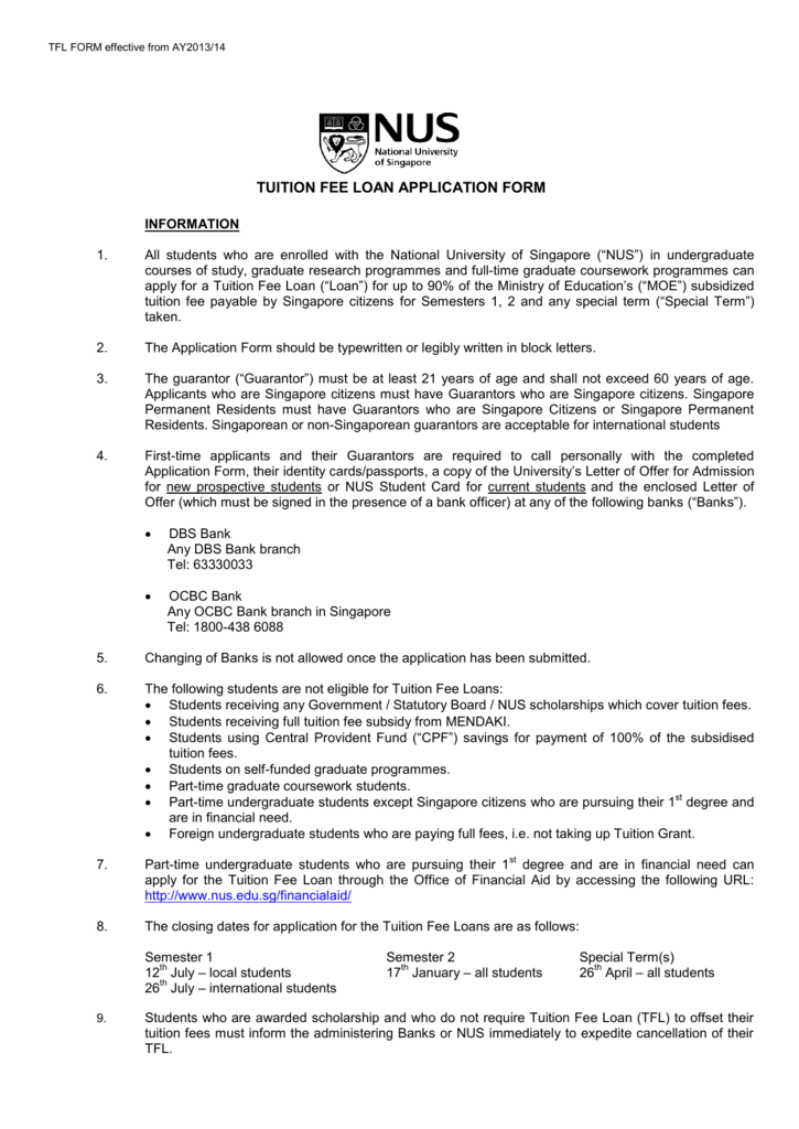 graduate coursework application fee form-nus