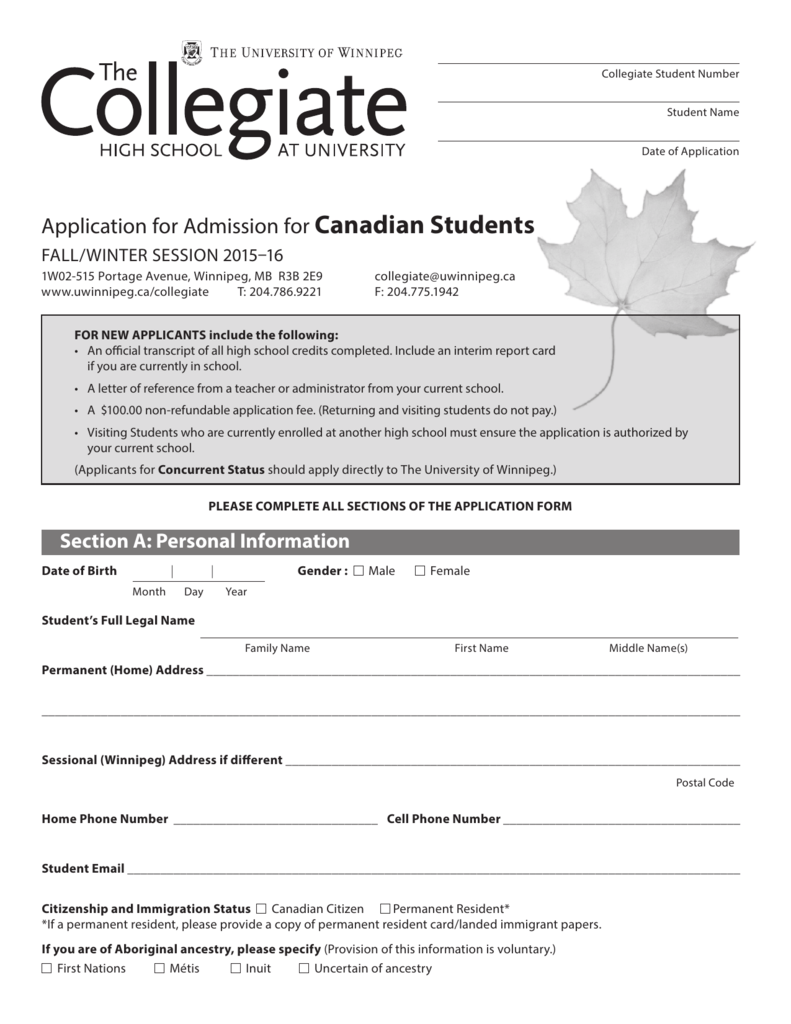 Collegiate Student - Collegiate , The University of Winnipeg