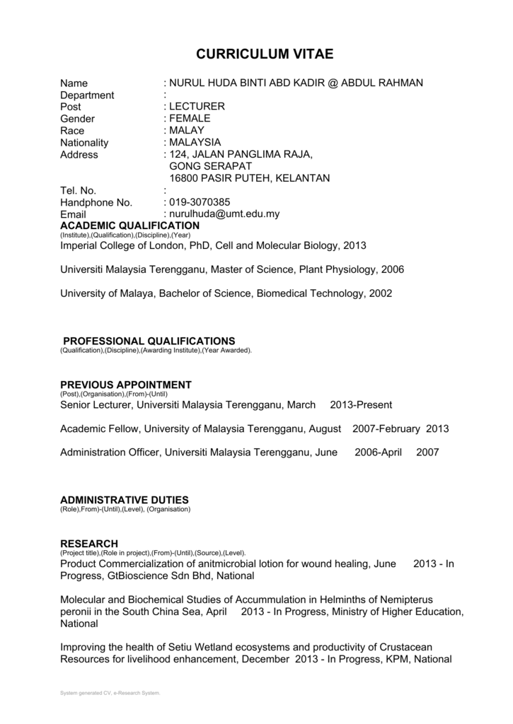 Curriculum Vitae Journal Of Sustainability Science And