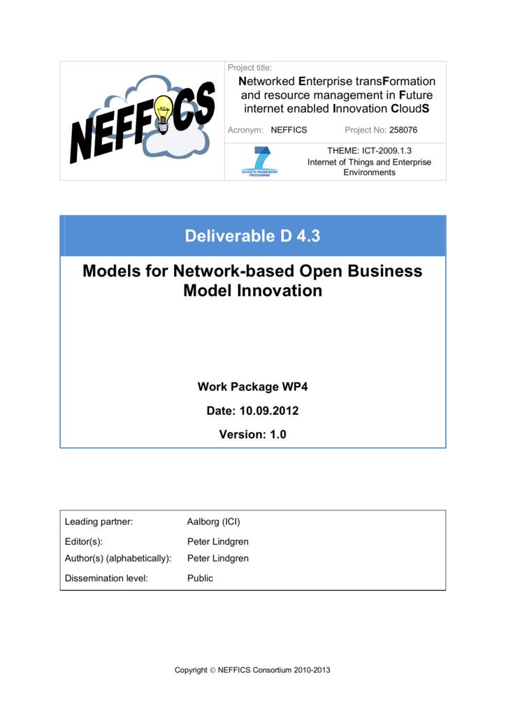 Models For Network Based Open Business Model Innovation