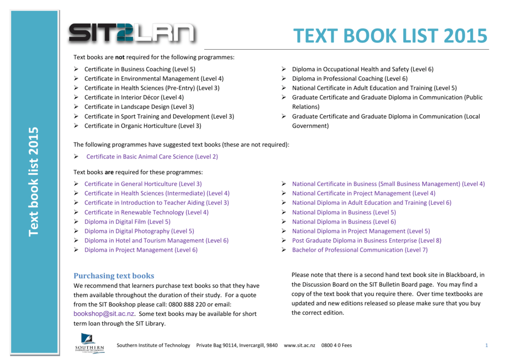 Text Book List 2015 Southern Institute Of Technology
