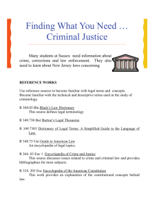 Finding What You Need … Criminal Justice