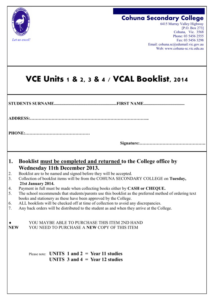 VCE Units 1 & 2, 3 & 4 / VCAL Booklist, 2014
