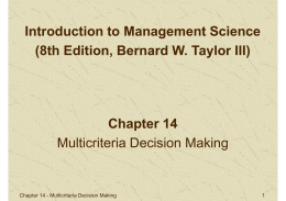 Chapter 14 Multicriteria Decision Making