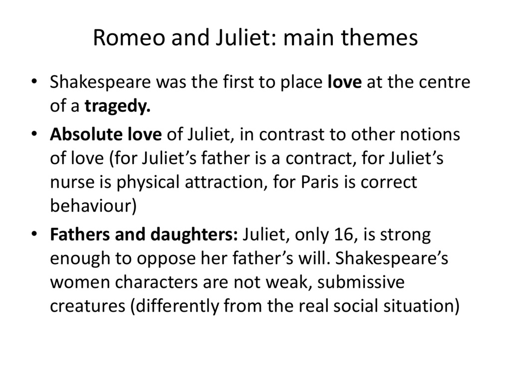 what are the main themes in romeo and juliet