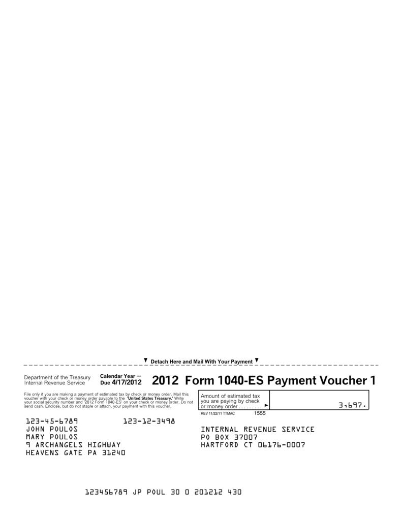 2012 Form 1040 Es Payment Voucher 1