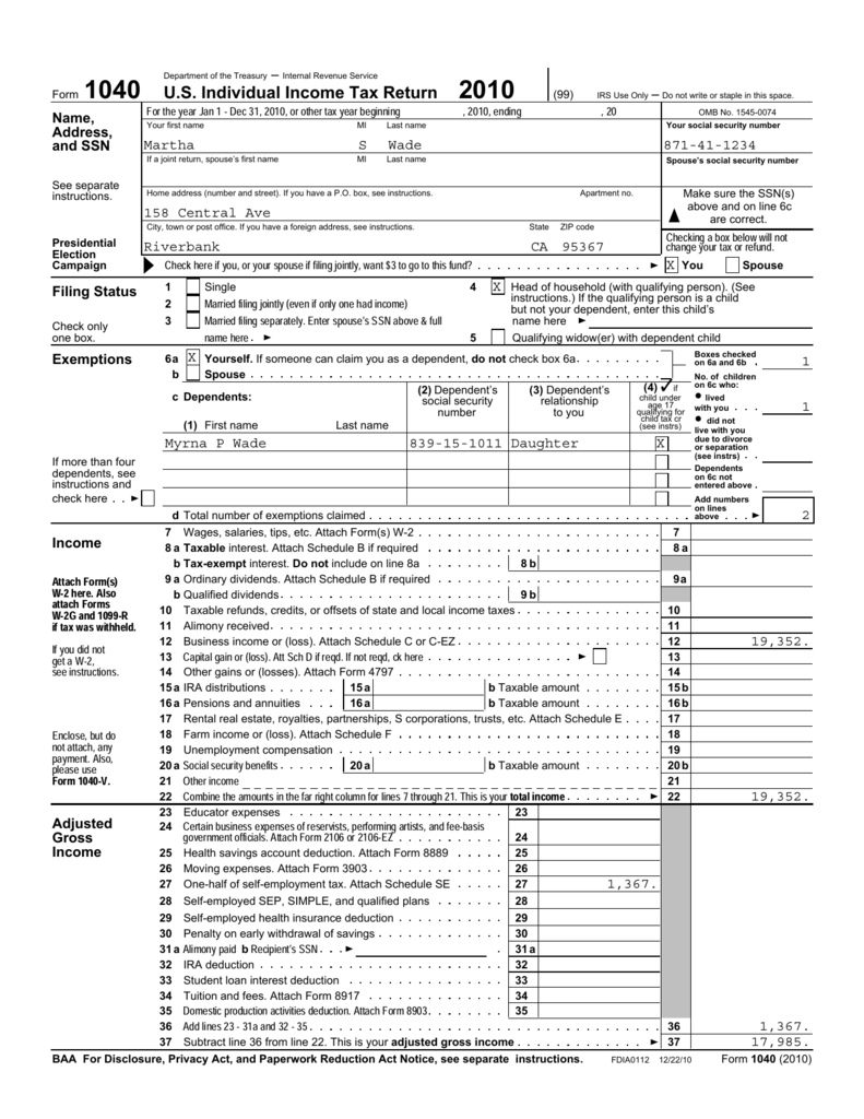 Form 1040 us individual income tax return 2010 robcynllc Images