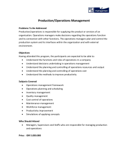 Production/Operation Management