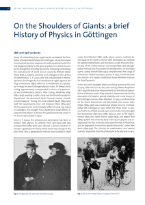 On the Shoulders of Giants: a brief History of Physics in Göttingen