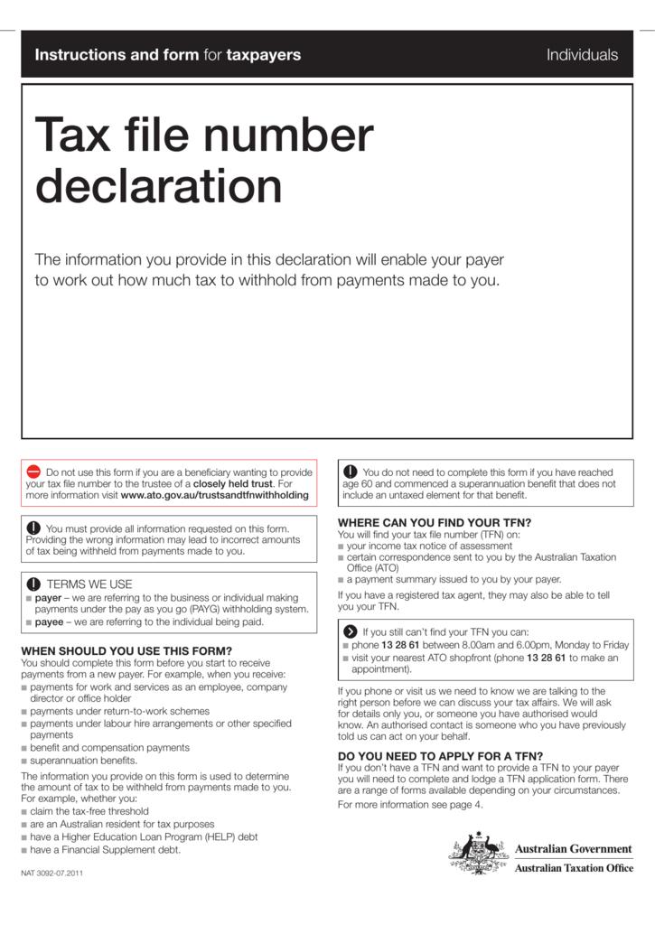 Ato Tfn Declaration Nat 3092