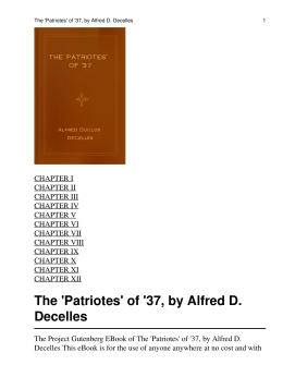 The \'Patriotes\' of \'37
