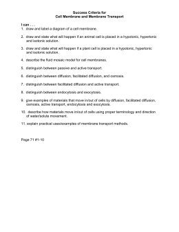 Success Criteria for Cell Membrane and Membrane Transport I can