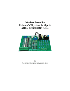 Interface board for Reliance's SCR bridge to ABB's DCS800 DC drive.