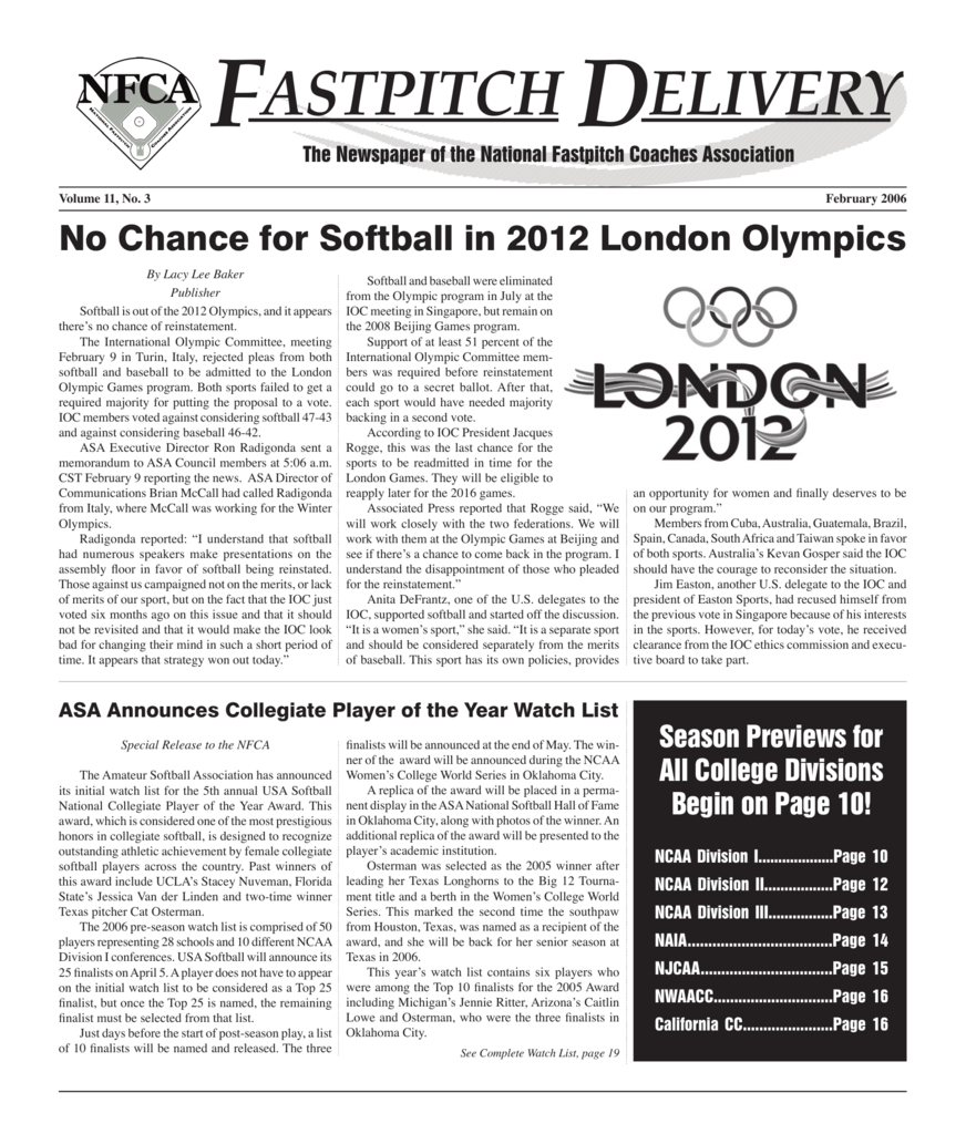 fastpitch delivery - National Fastpitch Coaches Association