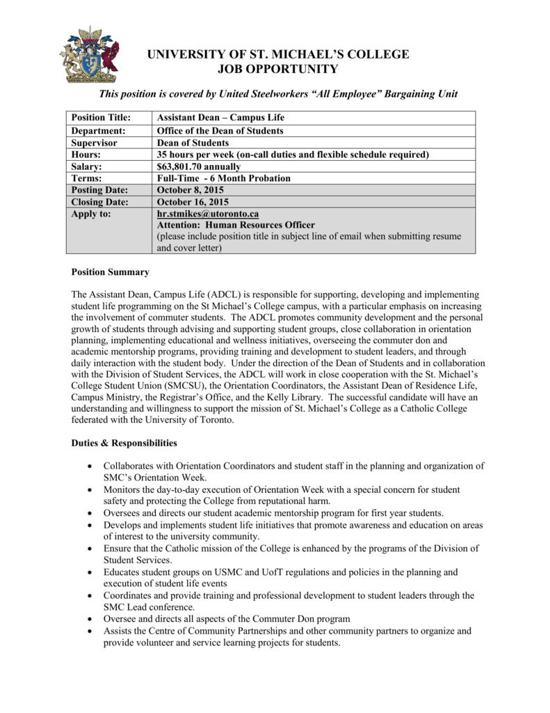 assistant dean of students cover letter - Parfu kaptanband co