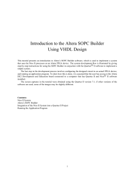 Introduction to the Altera SOPC Builder Using VHDL Design