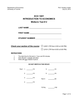 ECO 100Y INTRODUCTION TO ECONOMICS Midterm Test # 2