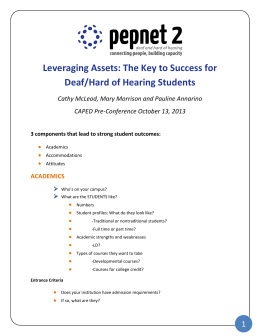 Leveraging Assets: The Key to Success for Deaf/Hard of