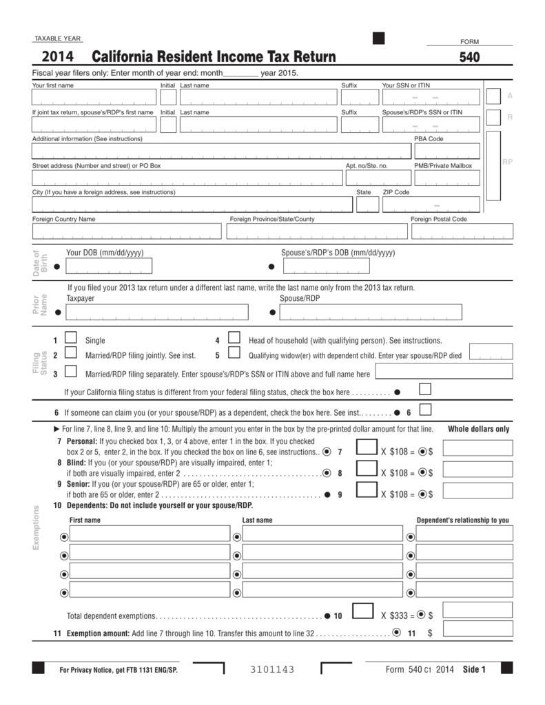 California Resident Income Tax Return 2014