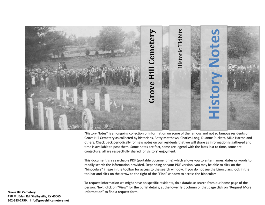 History Notes - Grove Hill Cemetery