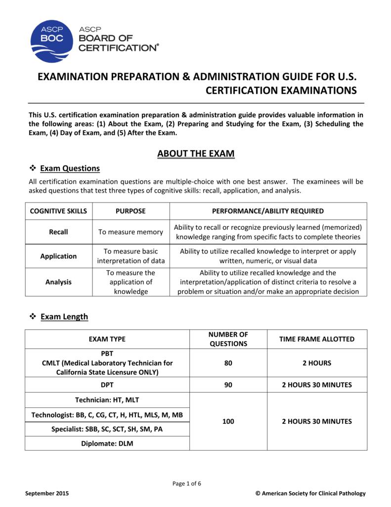 examination preparation & administration