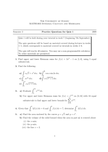 The University of Sydney MATH1003 Integral Calculus