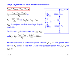 Design Objectives for Four-Resistor Bias Network or for is designed
