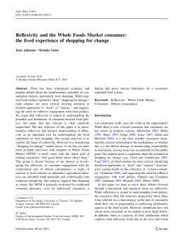 Reflexivity and the Whole Foods Market consumer
