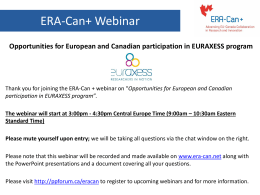 EURAXESS Webinar Dec 10 – final presentation - ERA-Can+